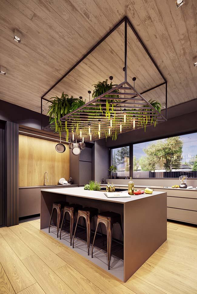 Plants in kitchen decoration of small decorated apartment