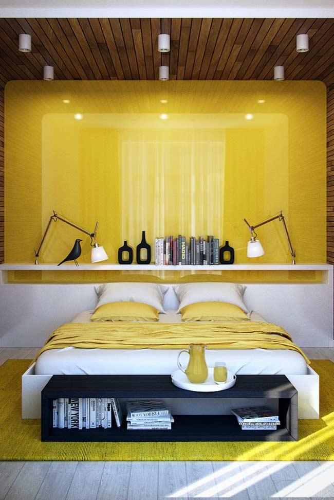Contrast colors in composition with wooden headboard