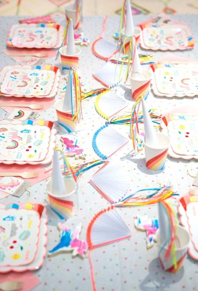 Decorated table for unicorn party